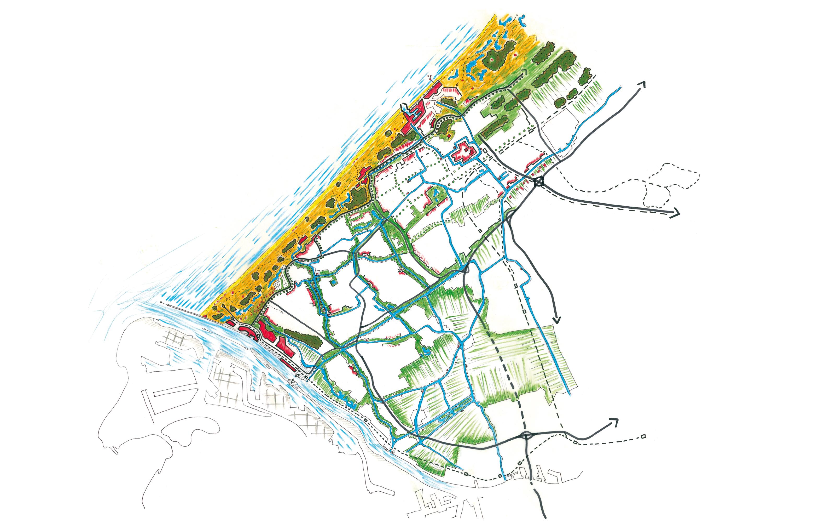Delflandse Kust - kaart van mogelijk ruimtelijk beeld 2050. Voor het project Vaartenland uit 2011.