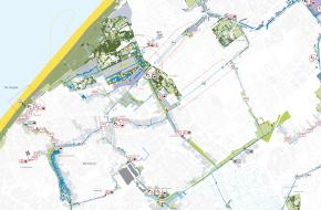 Vaartenland - kaart met havens en horecamogelijkheden ingetekend