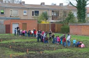 Sas van Gent - schooltuintjes met kinderen aan het werk