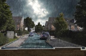 Afbeelding van een stad onder water in het kader van het project waterrobuust ontwerpen