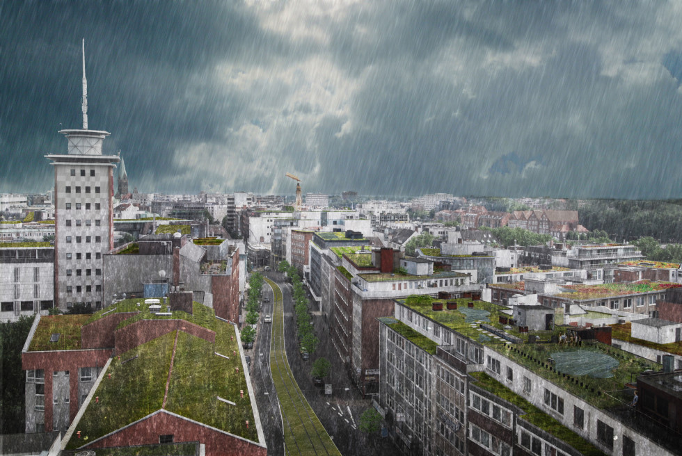 Bremen_gruene daecher regen
