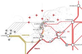 internationale connectiviteit - kaart met overzicht van huidige verbindingen Nederland met Europa