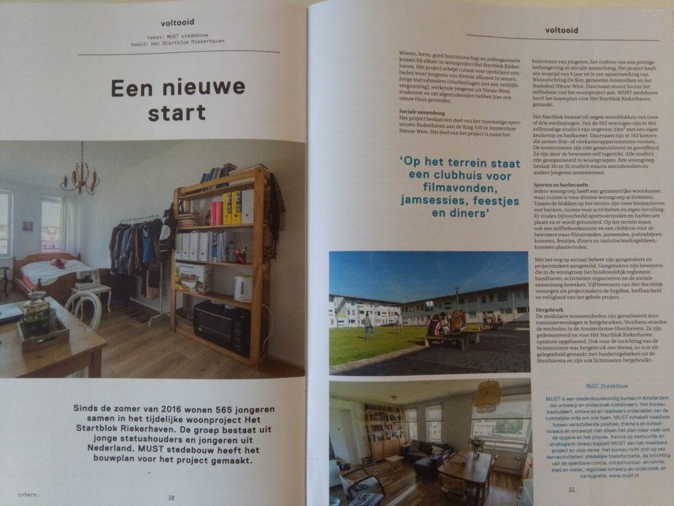 Het artikel over Startblok Riekerhaven in Intern, het blad van de Beroepsvereniging Nederlandse Interieurarchitecten