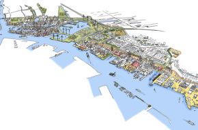 Tekening van de productieve stad - Project ZaanIJ