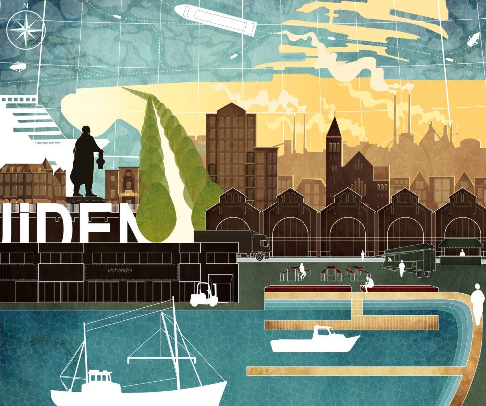 Collage van het Havenkwartier IJmuiden met het vissersmonument, de haven en de Halkade