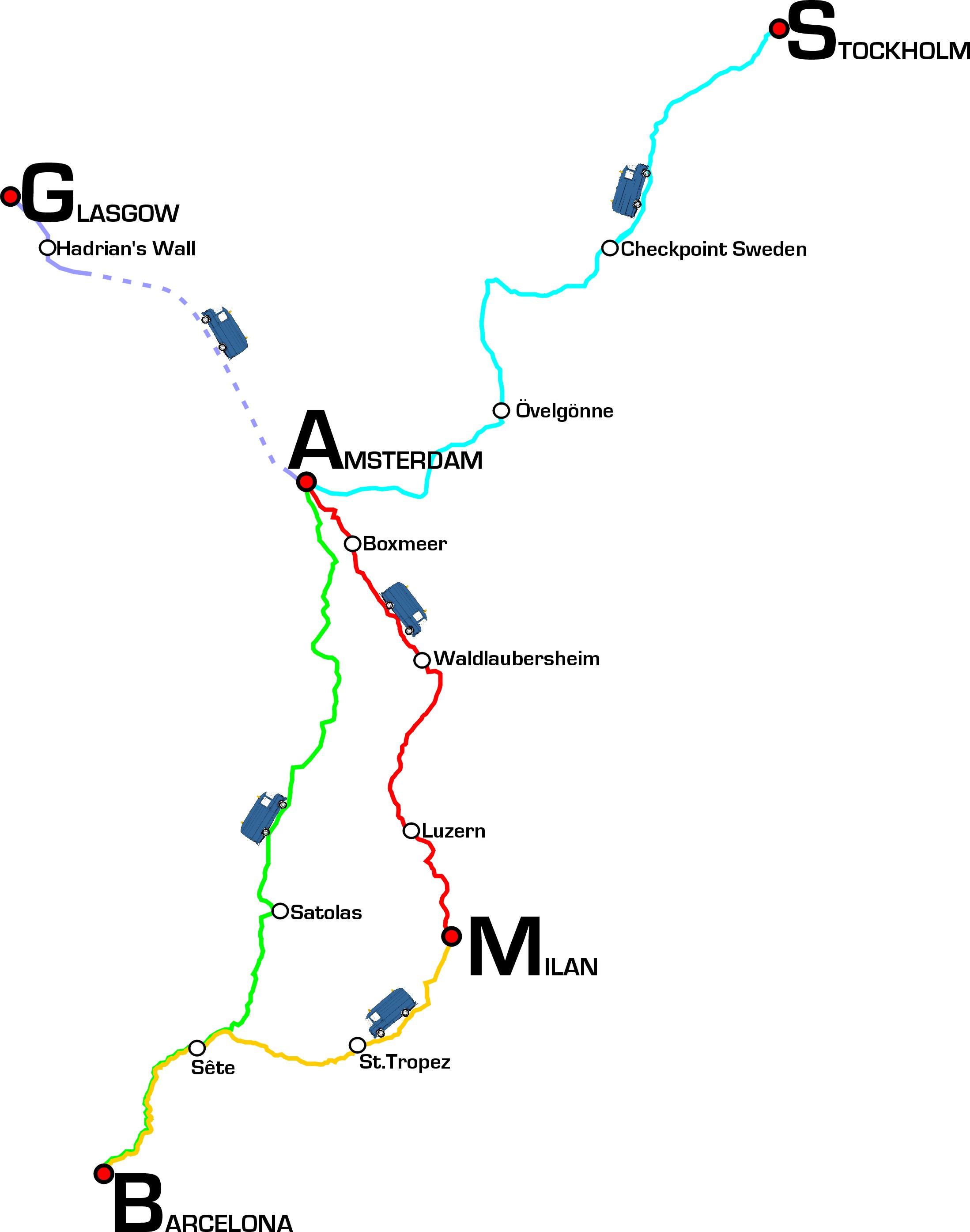 De route die wij in 1998 aflegde met onze MUST-bus