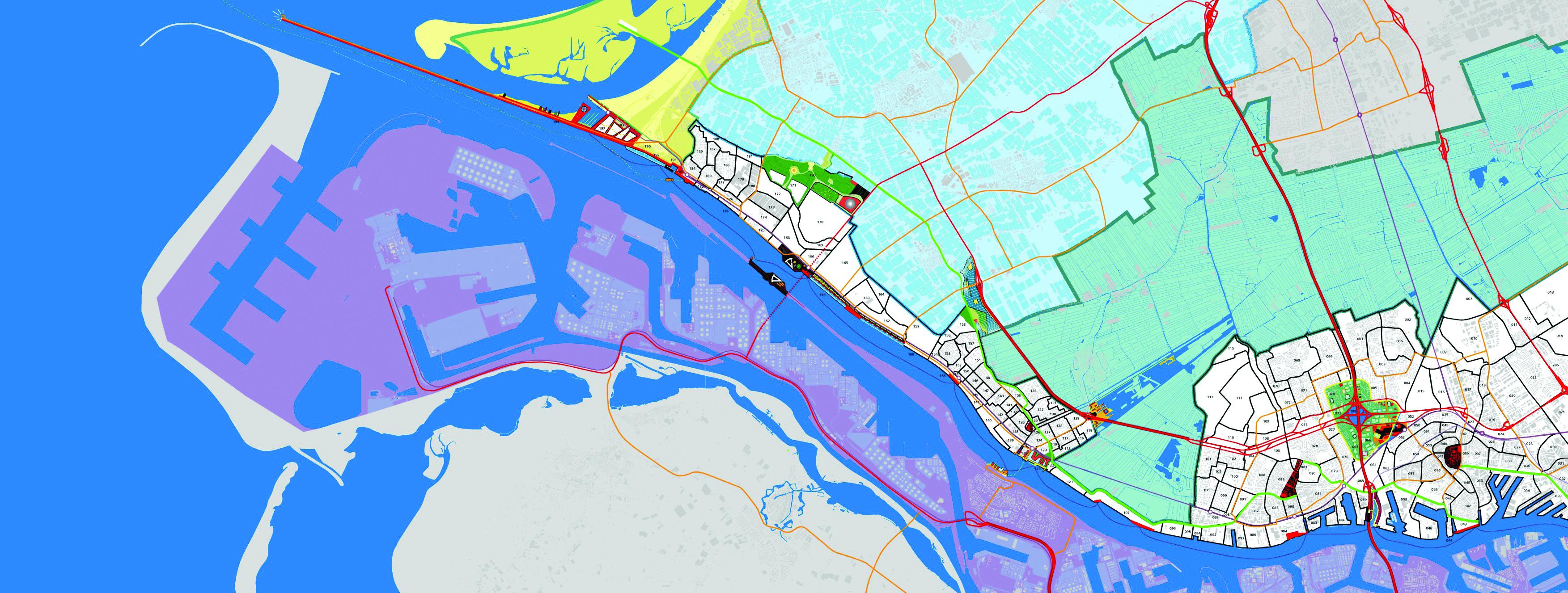 Onze plankaart voor het gebied tussen Rotterdam en Hoek van Holland. Deze plankaart maakten wij voor het project Welkom Thuis