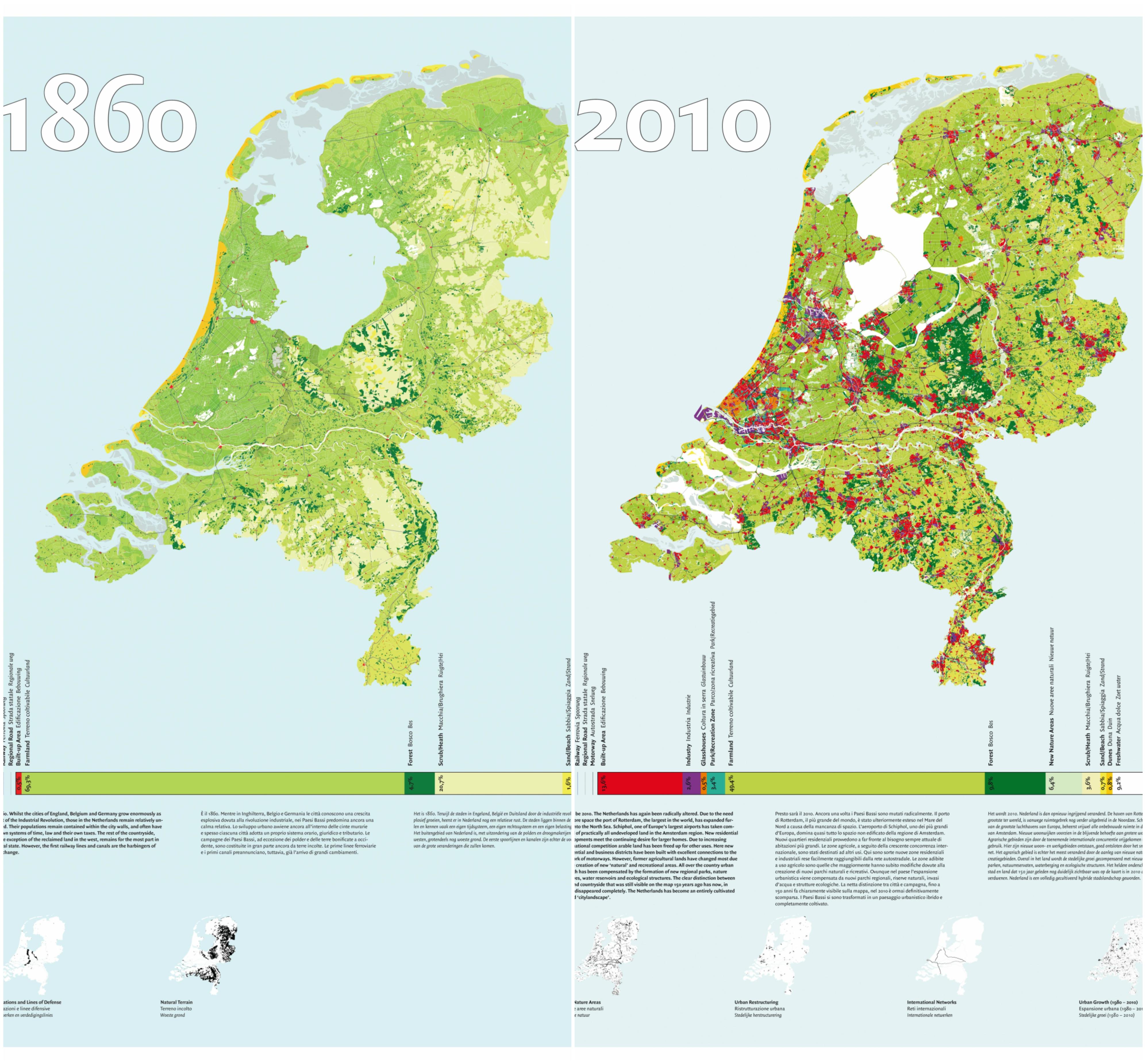 2 kaarten waarop je ziet dat Nederland tussen 1860 en 2010 volledig is veranderd. Deze kaarten komen uit het project Hybrid Landscapes uit 2004