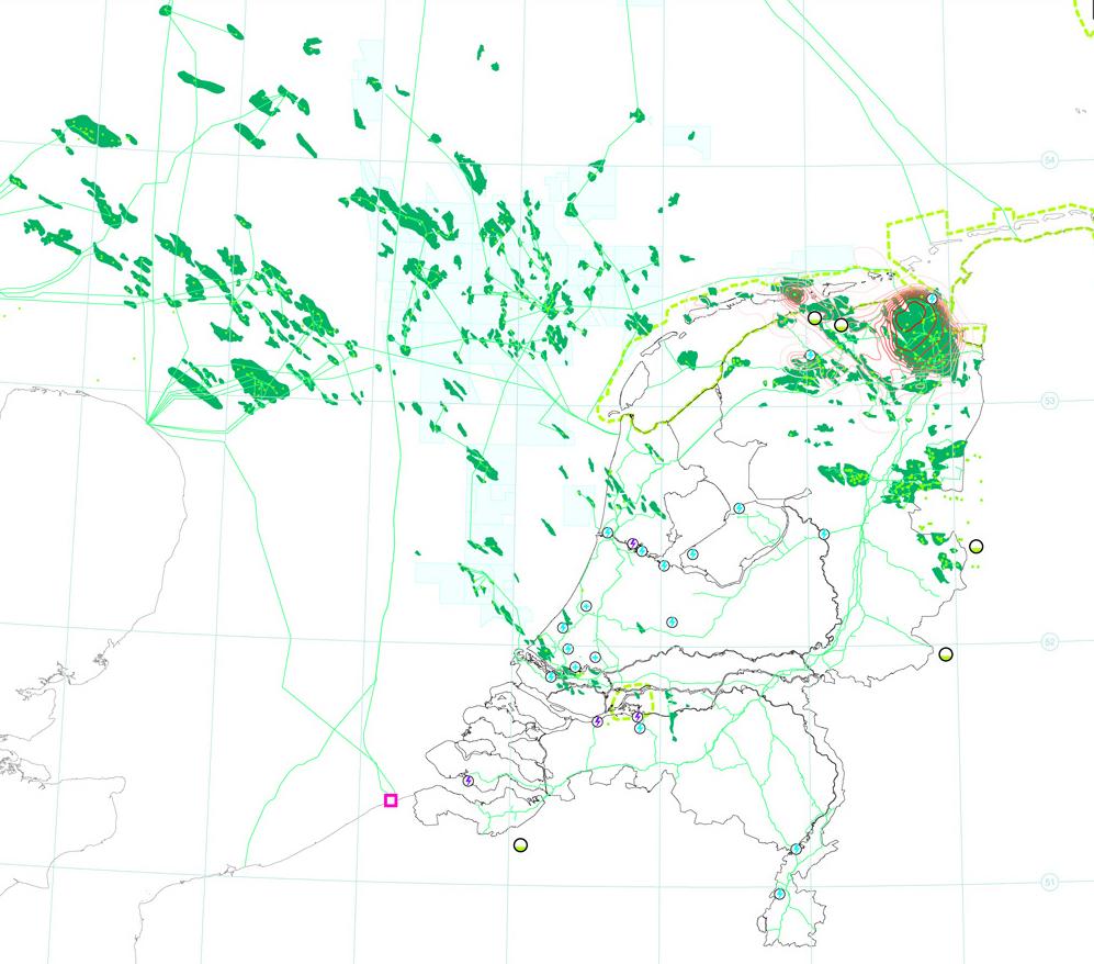 Kaart van Nederland met daarop ingetekend welke ruimte gas inneemt. Dit was voor het project energie is ruimte.