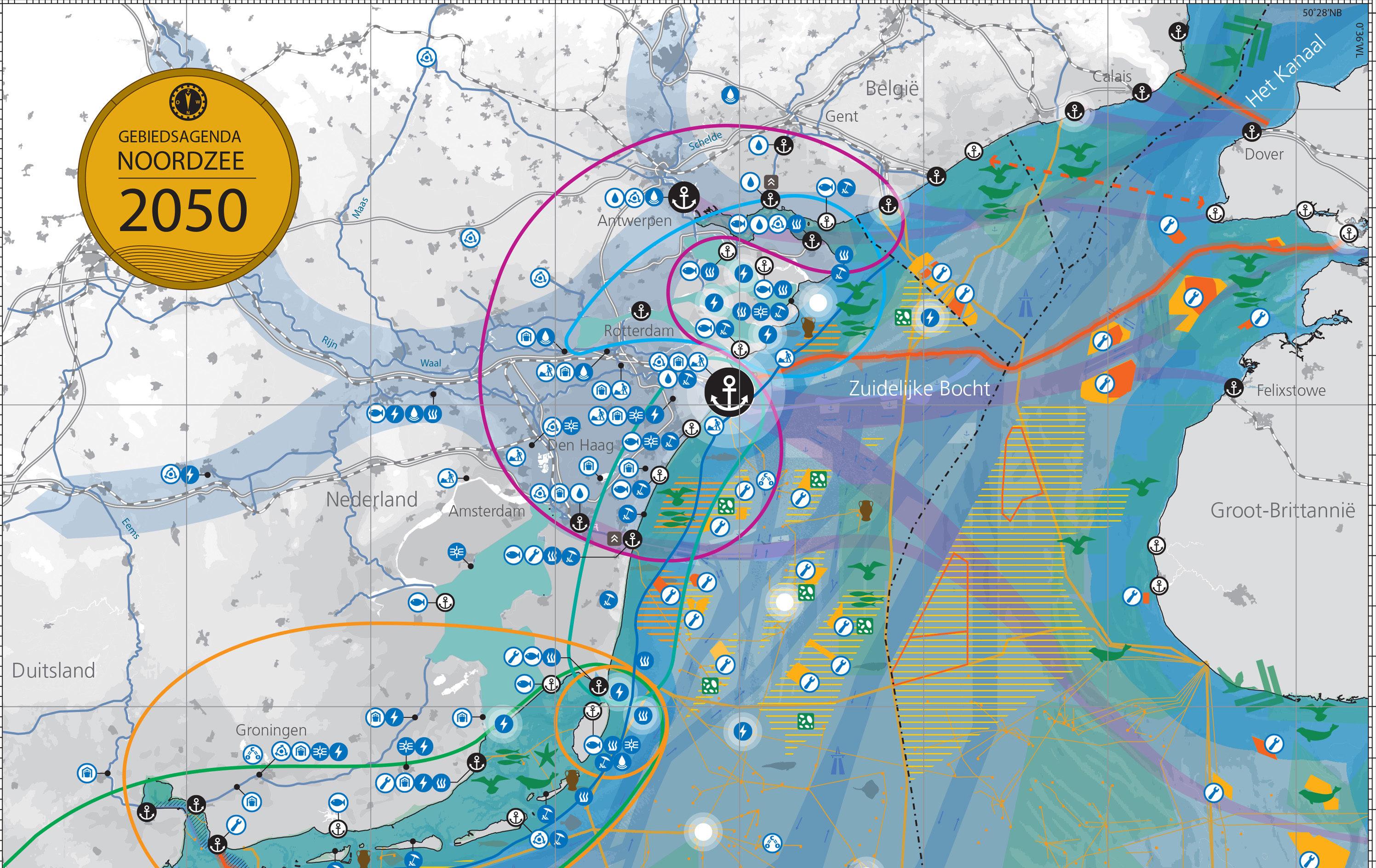 ©MUST Kaart van de Noordzee voor de Gebiedsagenda Noordzee 2050