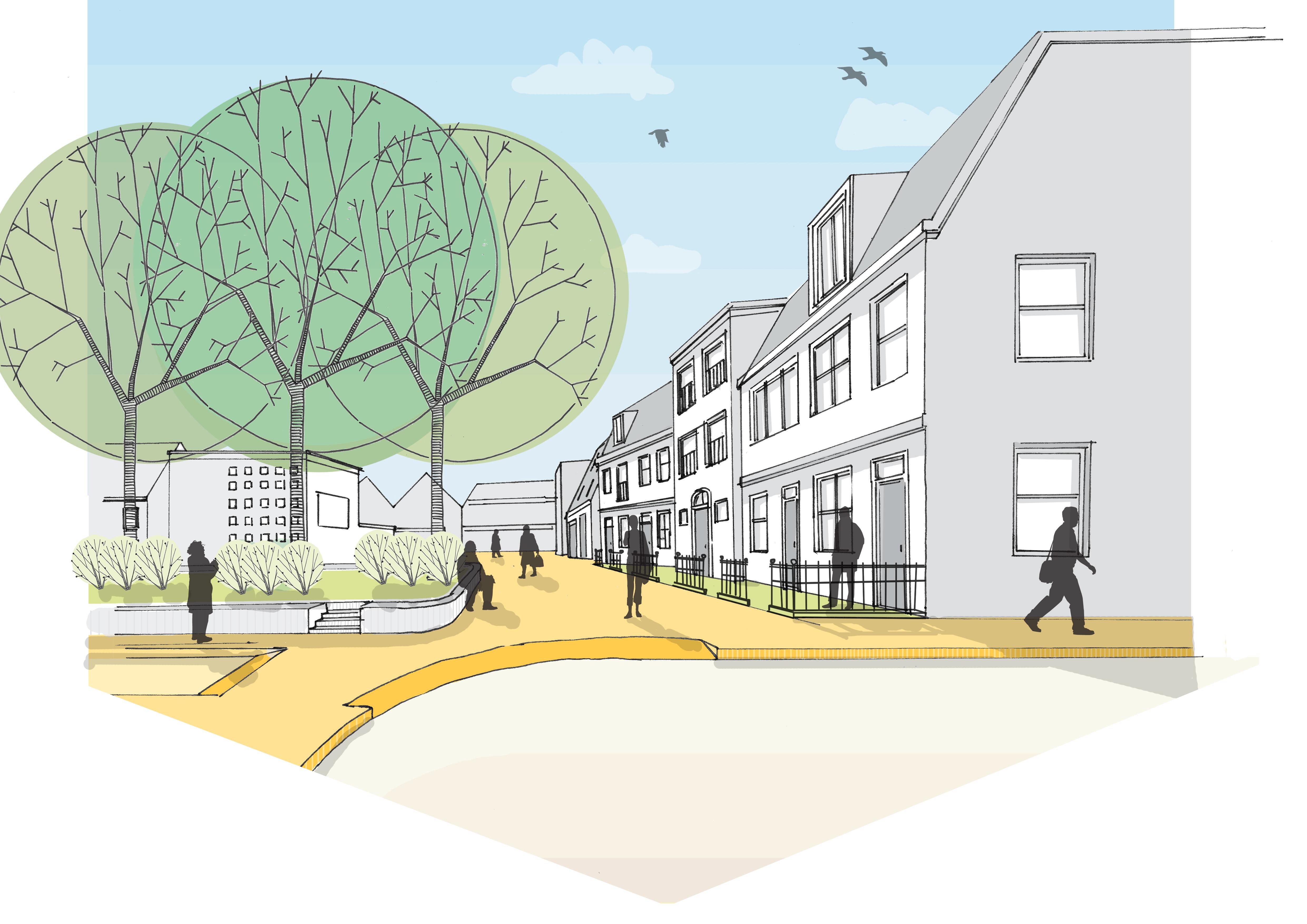 Tekening van het plan Amstelplein