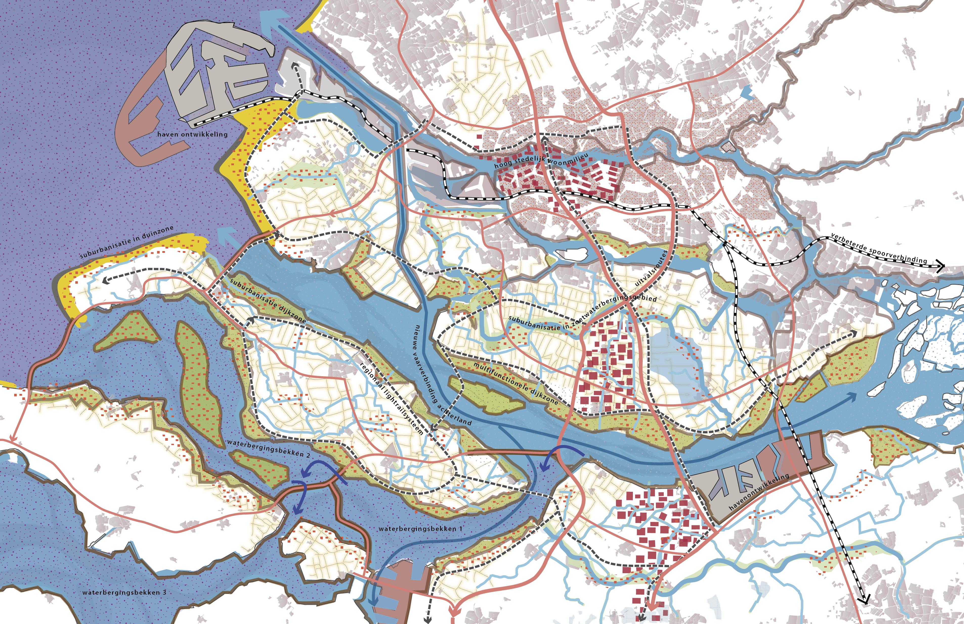 Kaart van het onderzoek Integral Planning and Design in the Delta. Toekomstbeeld scenario STOOM.