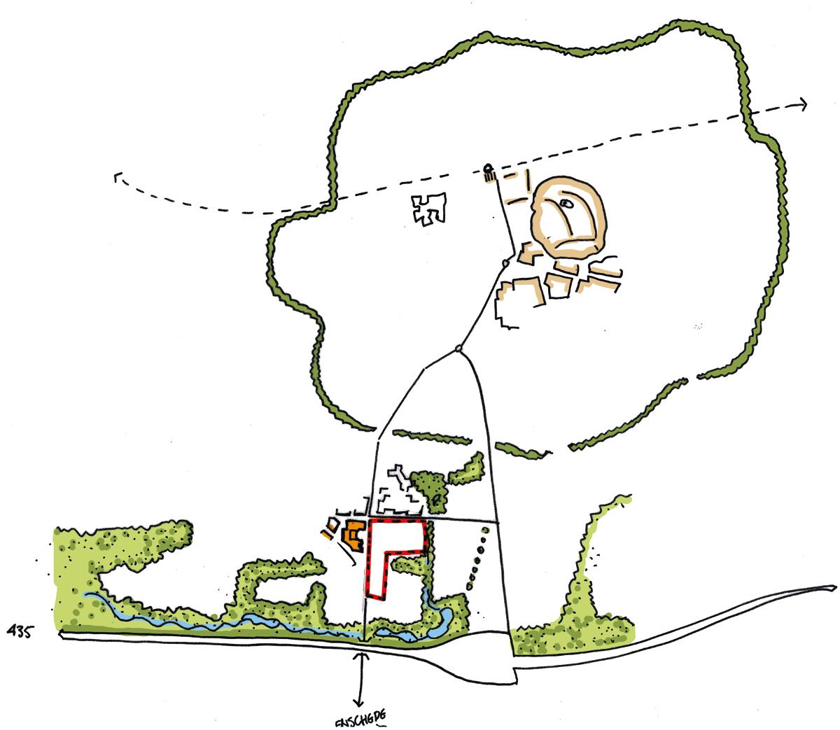 ©MUST Tekening waar de ligging van Boswinkel Oost op staat aangegeven.