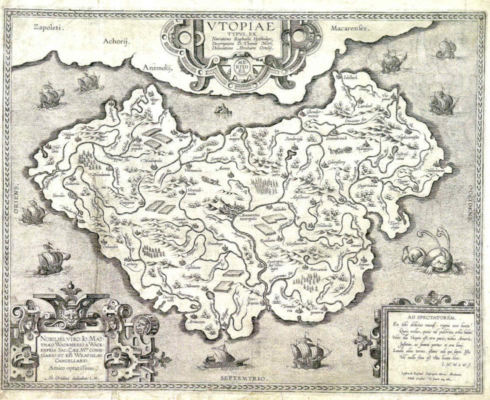 Kaart Utopia, gebruikt voor het artikel op Archined