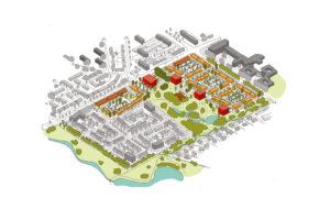 ©MUST vogelvlucht tekening stedenbouwkundig plan Oost Boswinkel - Meer Park