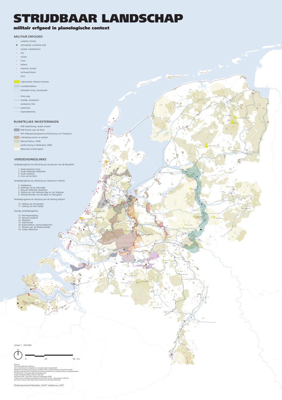 Strijdbaar Landschap: een overzichtskaart van het militair erfgoed in Nederland.
