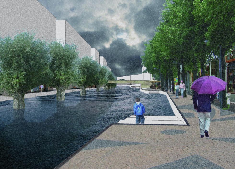 Photoshop van mensen langs nieuw water in de stad. De Stromende Stad.