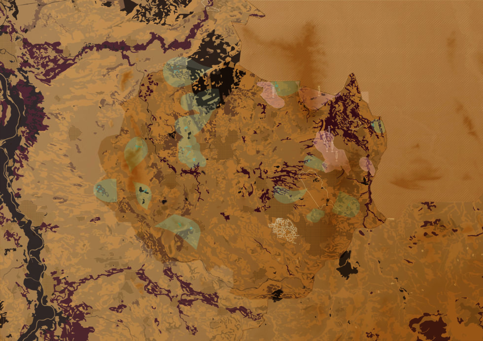 Een van de kaarten die de ondergrond van Twente laten zien. Deze is gemaakt voor de Bodematlas Twente
