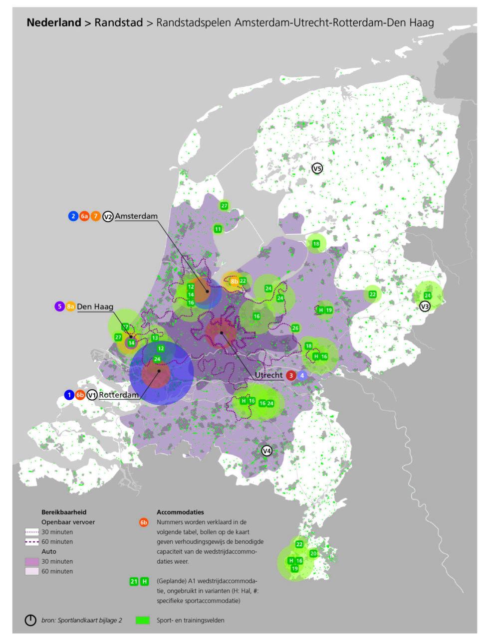 Kaart van de Randstadspelen, de vijfde variant voor de Olympische Spelen in Nederland