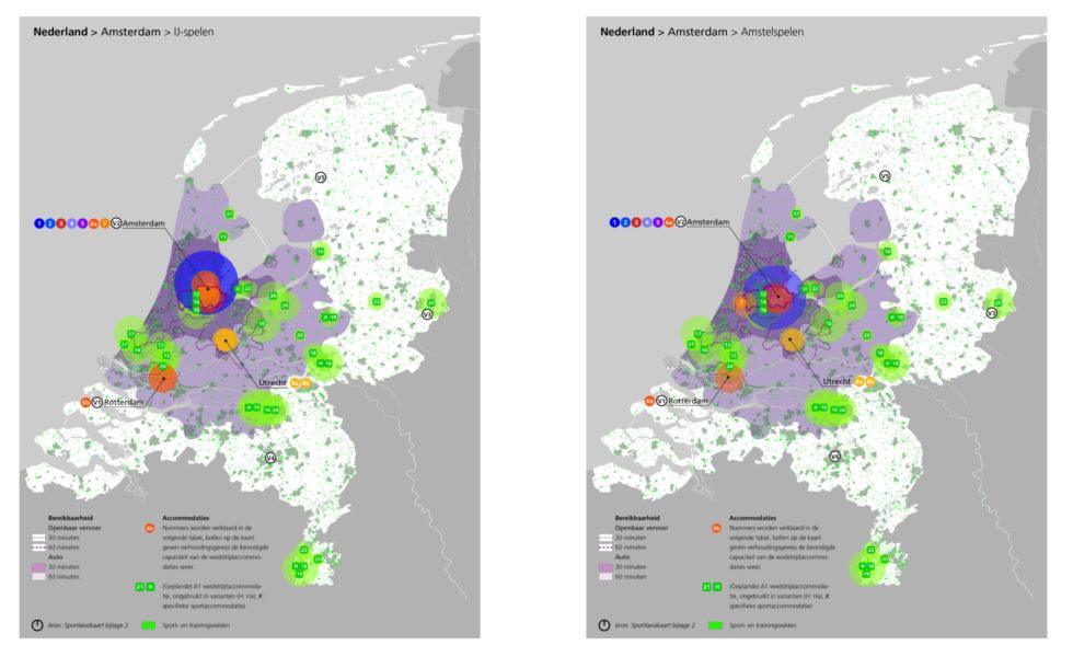 Kaarten waarop de verschillende varianten voor de Olympische Spelen in Amsterdam te zien zijn