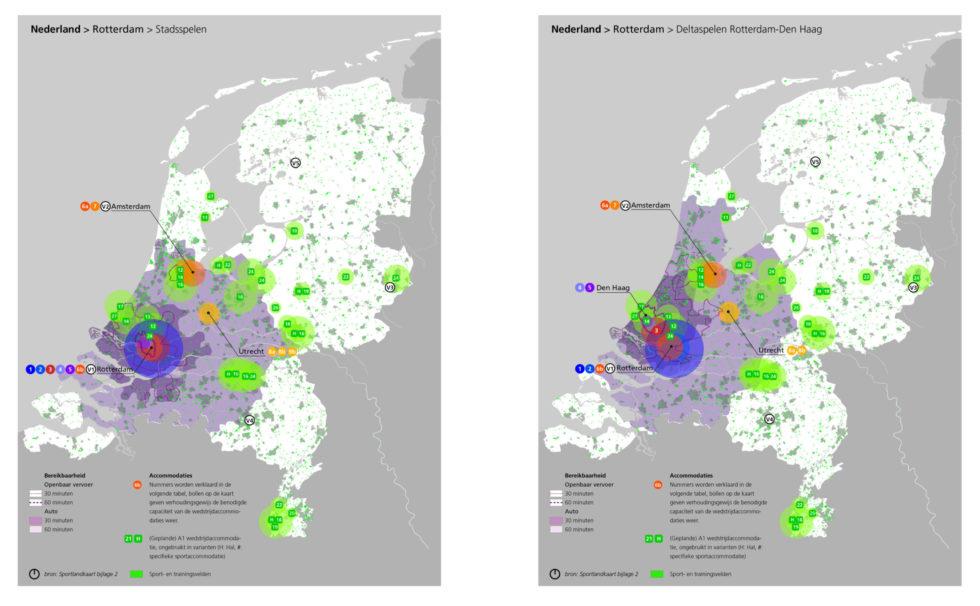 Kaarten waarop de mogelijkheden staan ingetekend voor Olympische Spelen in Rotterdam en Rotterdam-Den Haag