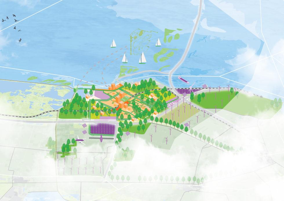 Deze kaart in de Omgevingsvisie heeft een gekanteld perspectief. We kijken over Lelystad heen, naar het IJsselmeer.