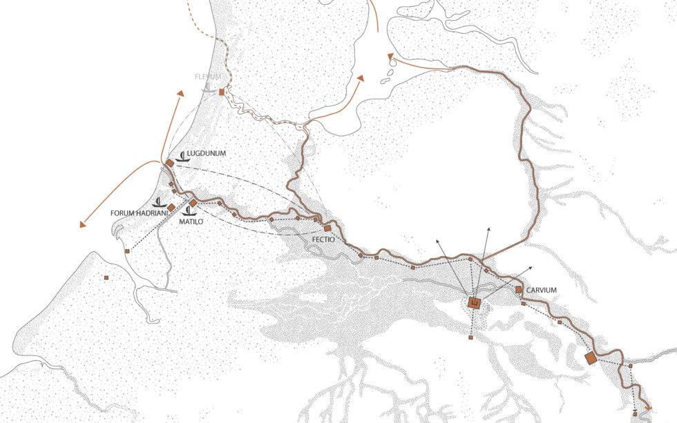 Deze kaart laat de Limes zien, dat nu Unesco Werelderfgoed is.