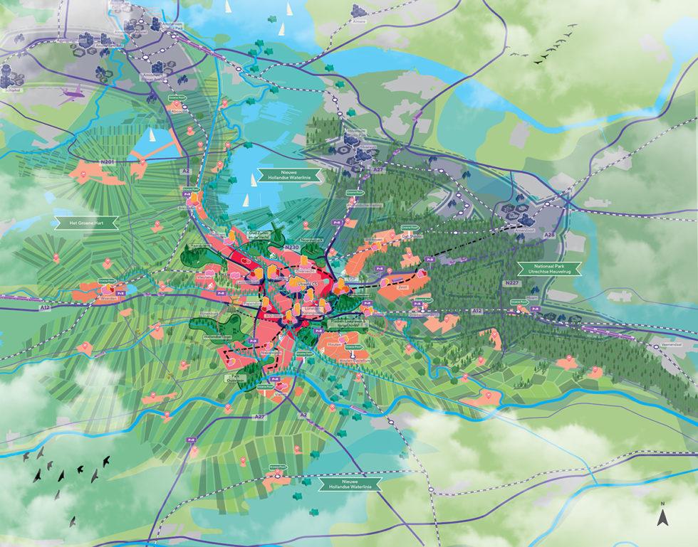 Kaart met toekomstige ontwikkelingen Regio Utrecht, met daarin ook het nieuwe Unesco Werelderfgoed, de Nieuwe Hollandsche Waterlinie